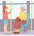 Young girl offering a seat to an old lady in vector image