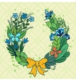 Handdrawn floral wreath with blue flowers vector image