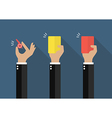 Hand of businessman showing a whistle yellow card vector image