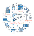 06 blue gardening - pruning trees vector image
