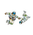 a couple in love astronauts holding hands vector image vector image