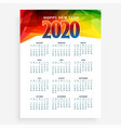 abstract new year calendar for 2020 layour design vector image
