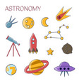 astronomy simple flat icon set set of flat line vector image