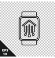 black line smart home with smart watch icon vector image vector image