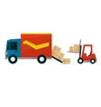Boxes Falling Out From Cargo Truck And Forklift vector image vector image