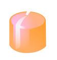 bright orange candle isolated on white background vector image vector image