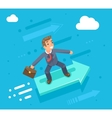 Businessman character riding on the infographic vector image vector image