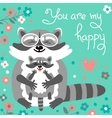 Card with cute raccoons and a declaration of love vector image vector image