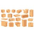 cardboard boxes cartoon brown carton package vector image