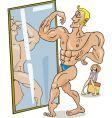 cartoon muscular man vector image vector image