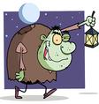 Character Halloween Igor With Lantern vector image vector image