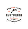 child care center emblem dolphin symbol icon and vector image