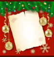 christmas background with old paper and golden vector image vector image