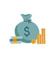concept cash money bag stack coins vector image