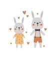 cute boho rabbits couple vector image