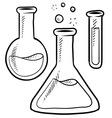 Doodle science lab beakers vector image