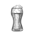drawn standard pub glass with foam beer vector image vector image