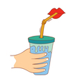 drinking a cup of juice vector image vector image
