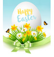 easter sale background holiday egg in green grass vector image vector image