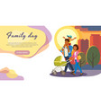 family day out cartoon landing page vector image vector image