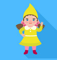 girl gnome icon flat style vector image vector image