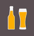 Glass of beer and bottle flat icon