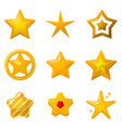 glossy gold stars in cartoon style icons set for vector image