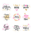 Happy mothers day icons hand drawn calligraphy