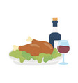 happy thanksgiving day baked turkey wine bottle vector image vector image