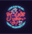 happy valentines day neon greetings card flyers vector image vector image
