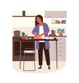 happy woman cooking turkey in modern kitchen vector image