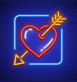 heart stricken by gold arrow vector image vector image