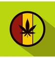 Hemp leaf on round rasta flag icon flat style vector image