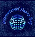 international dance day blue dark mirror ball vector image vector image