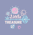 little treasure three color print for kids vector image vector image