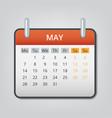 may 2018 calendar concept background cartoon vector image