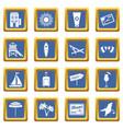 miami icons set blue vector image vector image