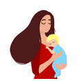 mother holding her sleeping baby vector image