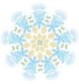 ornament of blue graphic abstract flowers and buds vector image vector image