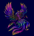 phoenix abstract color neon digital drawing vector image vector image