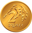reverse Polish Money two groszy copper coin vector image vector image