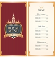 Royal menu with Big Ben vector image vector image