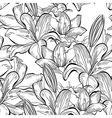 Seamless pattern with white lily flowers vector image