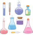 Set of laboratory flasks cartoon vector image