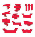 set of red cartoon ribbons banners tags labels vector image
