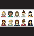 set of women icons on white background vector image vector image