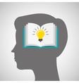 silhouette head boy book idea education online vector image vector image