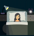 sleepless insomnia concept art tired woman on the vector image
