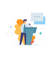 speaker makes a speech stands behind podium vector image vector image