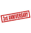 square grunge red 3rd anniversary stamp vector image vector image